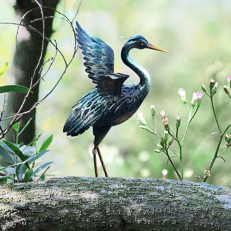 Chisheen Crane Garden Statue Sculpture, Metal Heron Outdoor Decor, Yard Art Bird Decoy for Backyard Pond Patio Porch Lawn Decorations