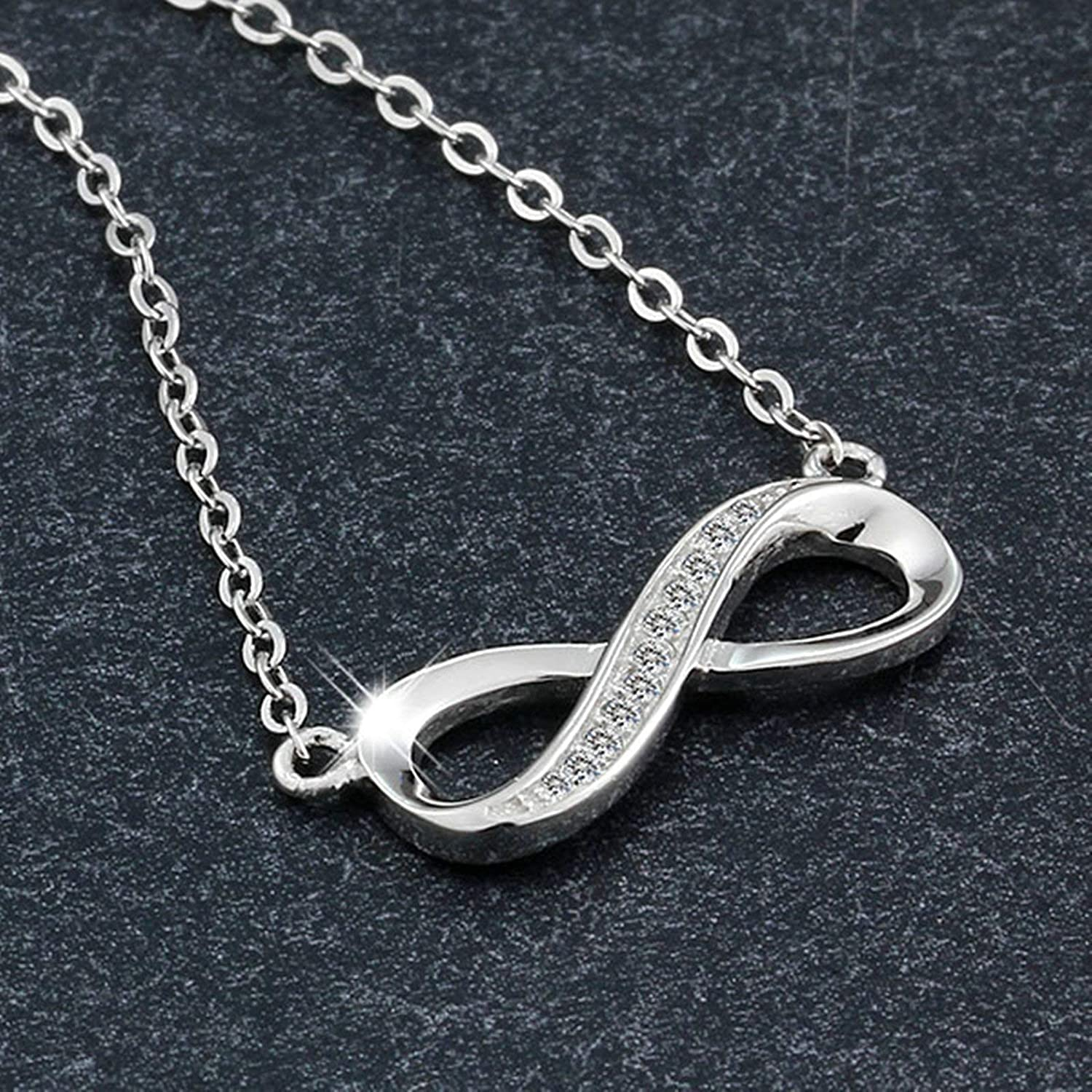Aooaz Silver Plated Necklace Women White CZ Forever Endless Love Eight Sign Pendant Necklace Silver Wedding
