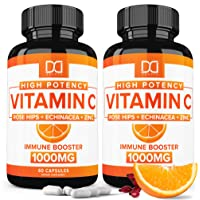 Vitamin C 1000mg w/ Rose Hips, Zinc, Echinacea Supplement for Immune Support for...
