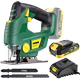 Cordless Jigsaw, POPOMAN 20V Jig Saw with LED Light, 2,000mAh Battery, 1H Fast Charger, 0-2,200SPM Adjustable Speed, -45…