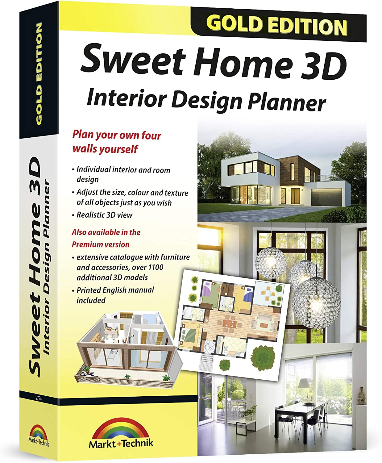 3959828233 Sweet Home 3D - Interior Design Planner with an additional 1100 3D models and a printed manual, ideal for architects and planners - for Windows 10-8-7-Vista-XP & MAC 8160dFIbOGL