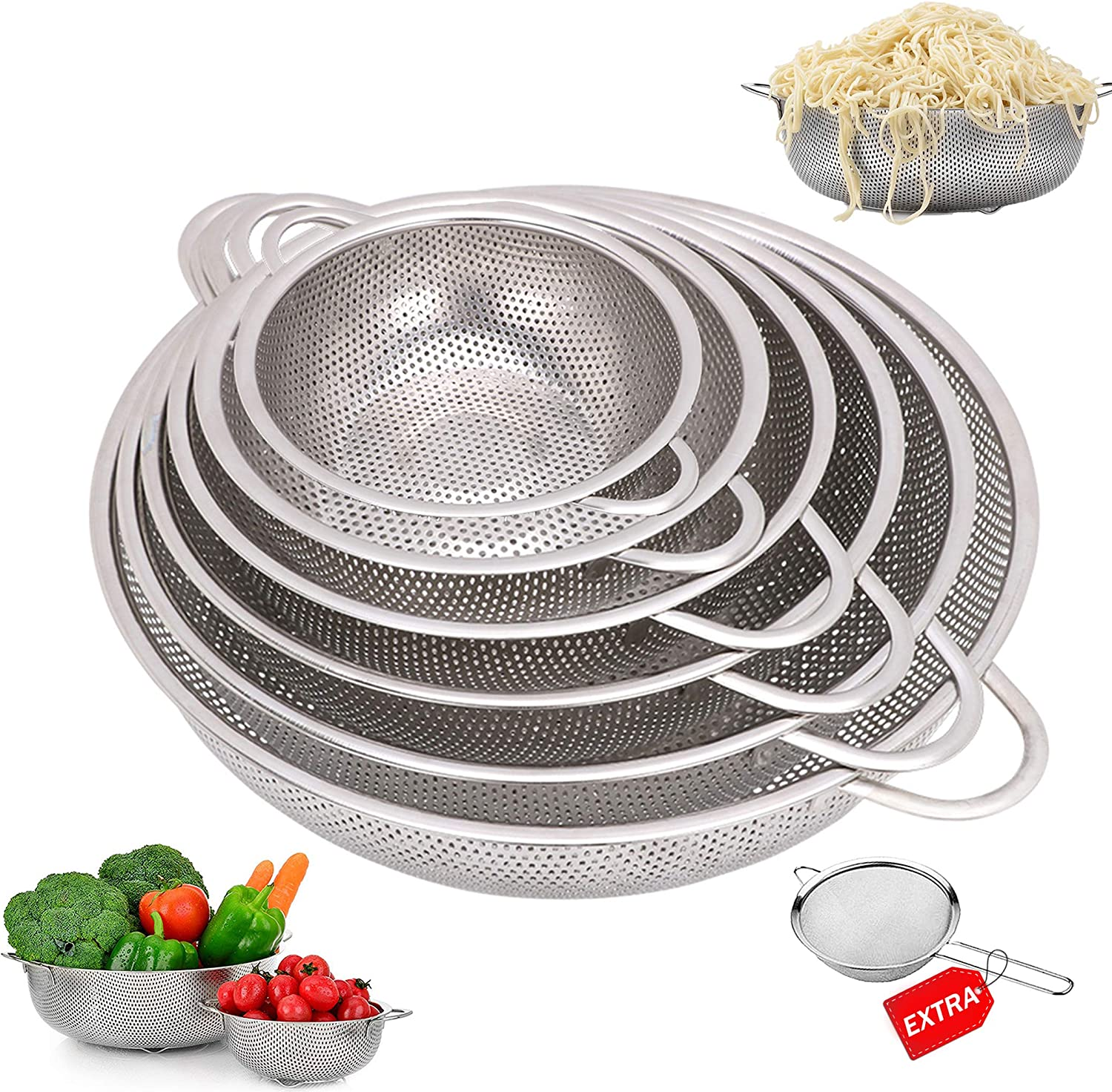 6-Piece Stainless Steel Mesh Micro-Perforated Strainer Colander Set-with Handle and Base, Extra 12cm Strainer - (1-Quart, 2-Quart, 2.5-Quart, 3.5-Quart, 4.5-Quart and 5.5-Quart)