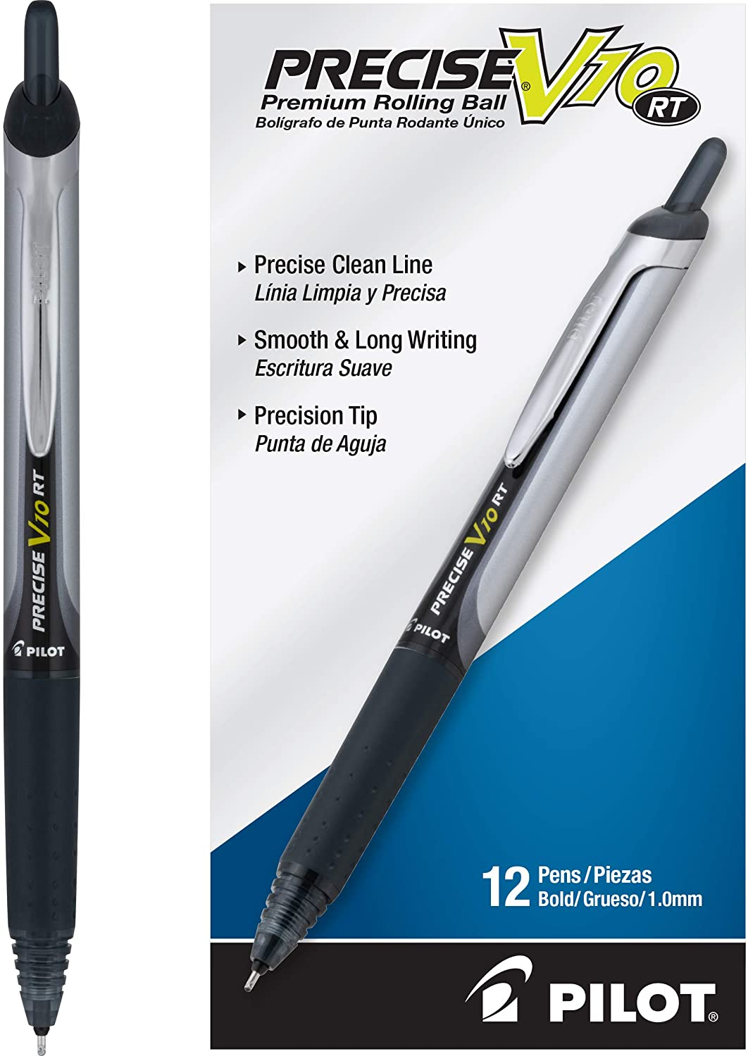 PILOT Precise V10 RT Refillable & Retractable Rolling Ball Pens, Bold Point, Black Ink, 12 Count (13450)