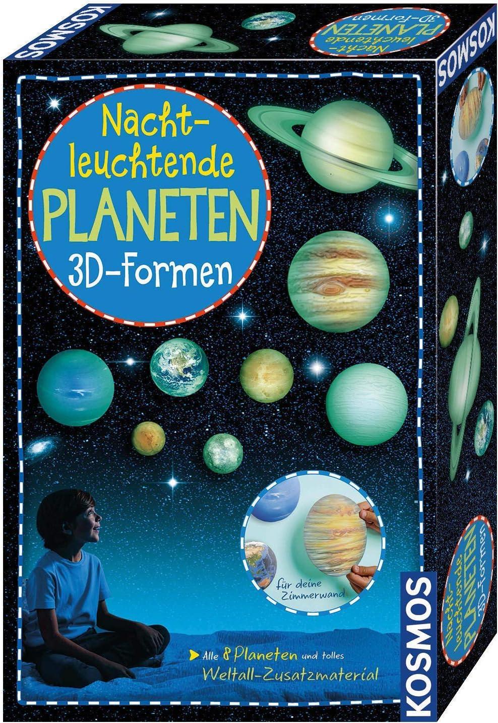 KOSMOS Nachtleuchtende Planeten 3D Formen Wandsticker für das Kinderzimmer Experimentierset