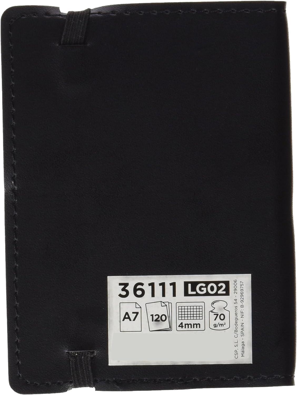 Liderpapel Libreta Símil Piel A7 120 Hojas 70 g/m² Cuadrícula 4 Mm Sin Margen Negro