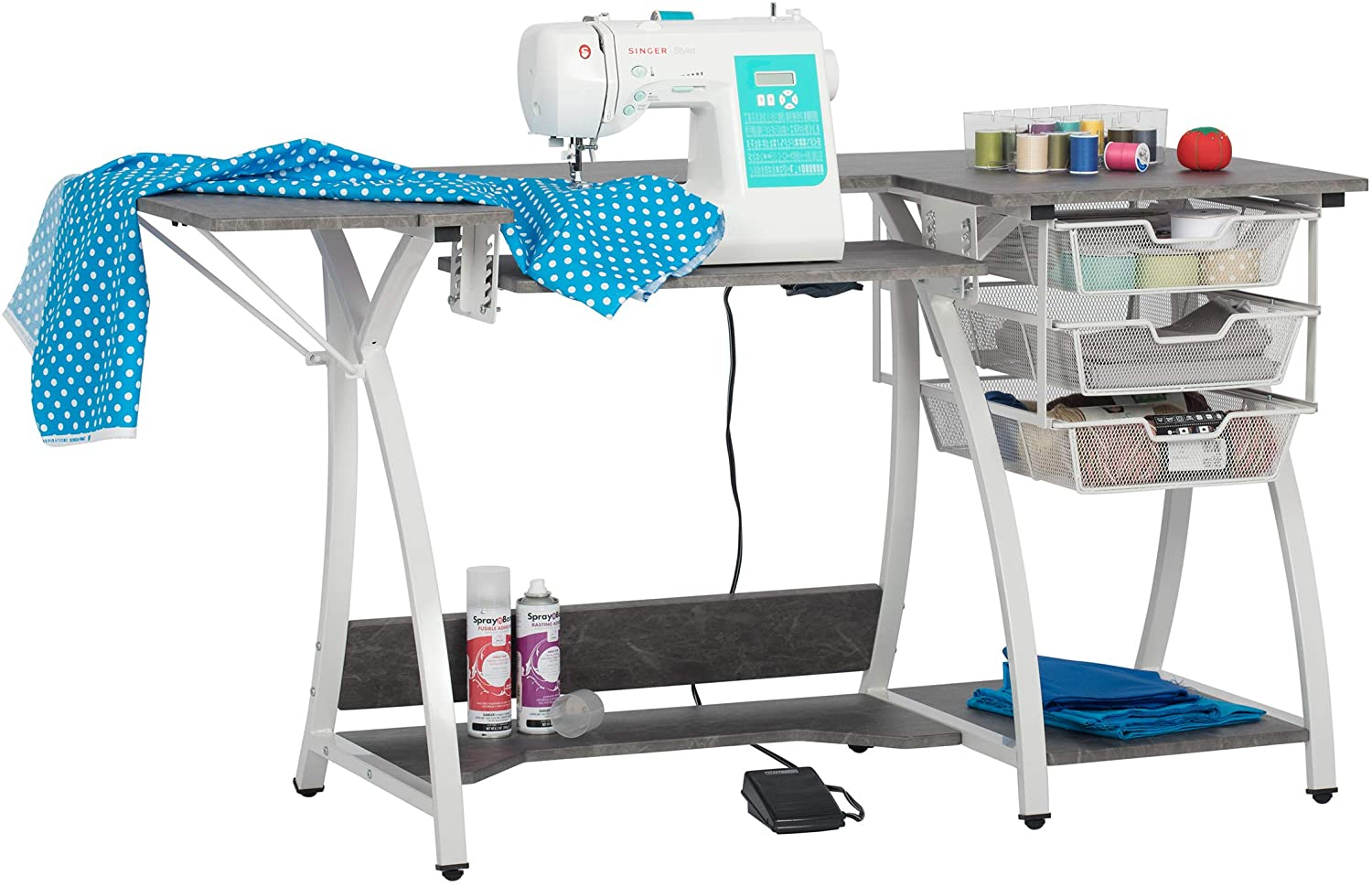Sew Ready Pro Stitch Sewing Machine Table with Wire Mesh Drawers, Desk for Hobby, Craft Table and Computer Desk, Home Office in White /Cement Gray , 56.75