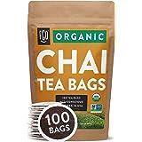 Organic Chai Tea Bags | 100 Tea Bags | Blend of Chinese Keemun Tea, Indian Assam Tea, Cinnamon, Cardamom, Cloves, Ginger, Bla