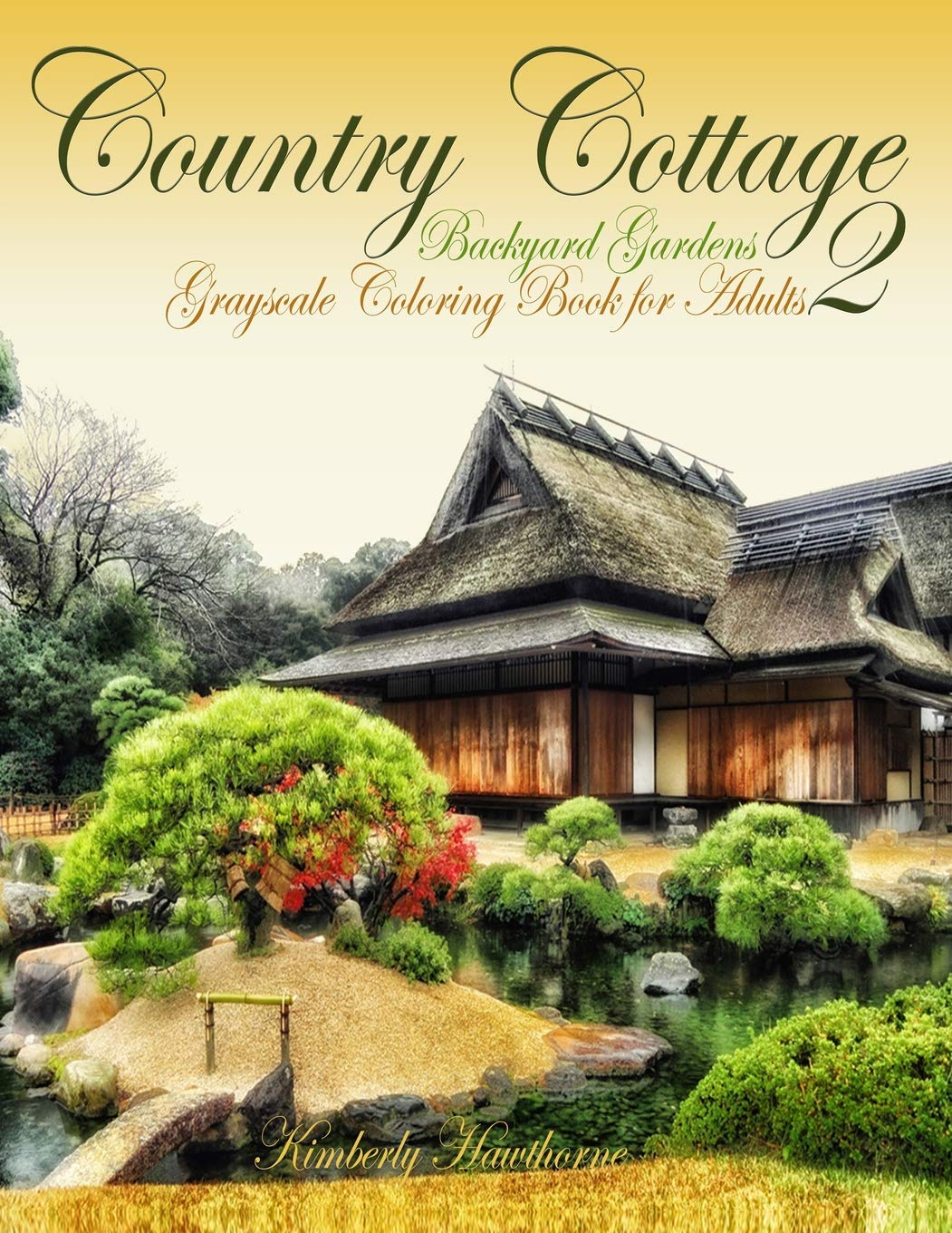 amazon country cottage backyard gardens 2 grayscale coloring book