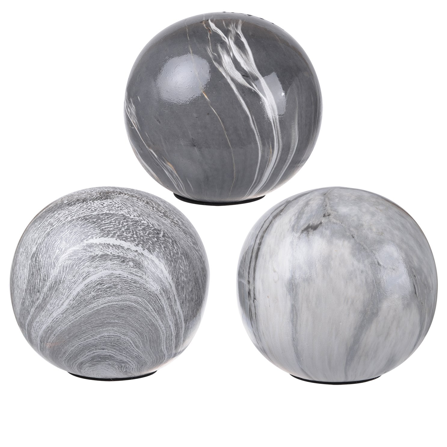 A&B Home Marbleized Ball Accents, Set of 6, 4'' x 4'' x 4'', Gray