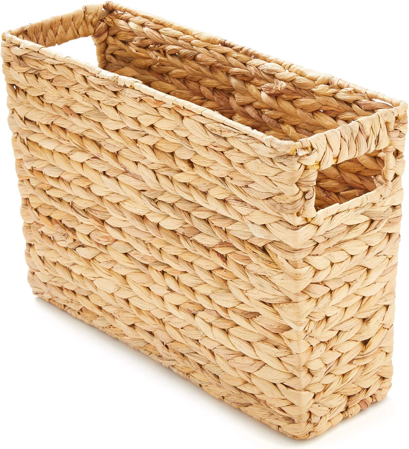 Americanflat Natural Rectangular Water Hyacinth Magazine Storage Basket with Handles - Hand-Woven - Magazine Basket, Home Office Basket - Eco-Friendly