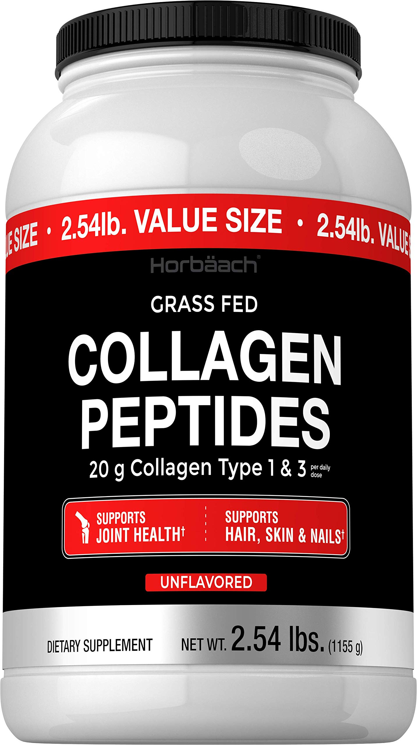 Collagen Peptide Powder 40 oz | Unflavored | Type 1 and 3 | Keto and Paleo Friendly Supplement | Hydrolyzed Protein Collagen | Non-GMO, Gluten Free, Grass Fed | Horbaach
