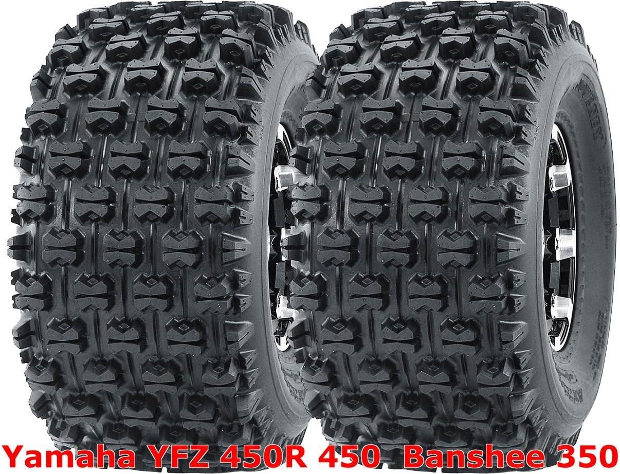 2 Front Yamaha YFZ450 YFZ 450 Black Aluminum Rims MASSFX Tires Wheels kit