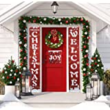 Besteek Merry Christmas Banner for Home, Christmas Porch Sign Decorations for Holiday Indoor Outdoor Christmas…