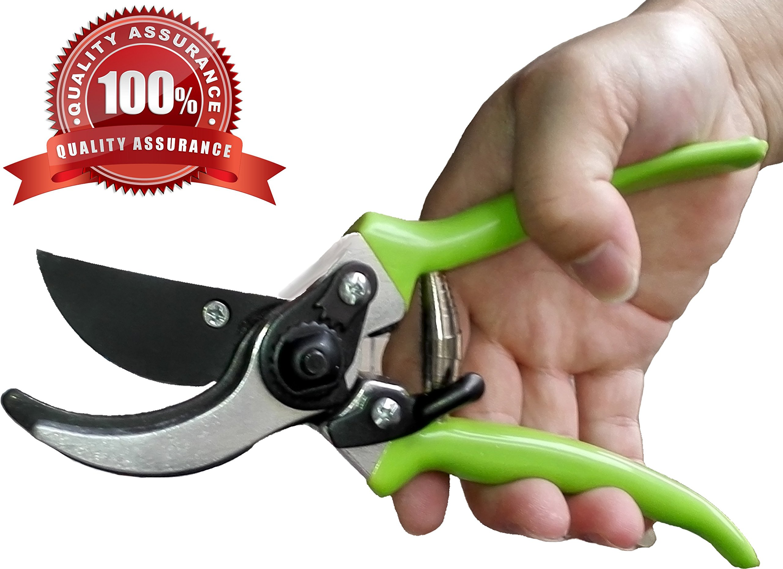 QUIET 100% Premium High Carbon Steel Professional Pruning Shears Clippers Bypass Ergonomic,Branches Bush Bonsai Roses Vines and Weeds
