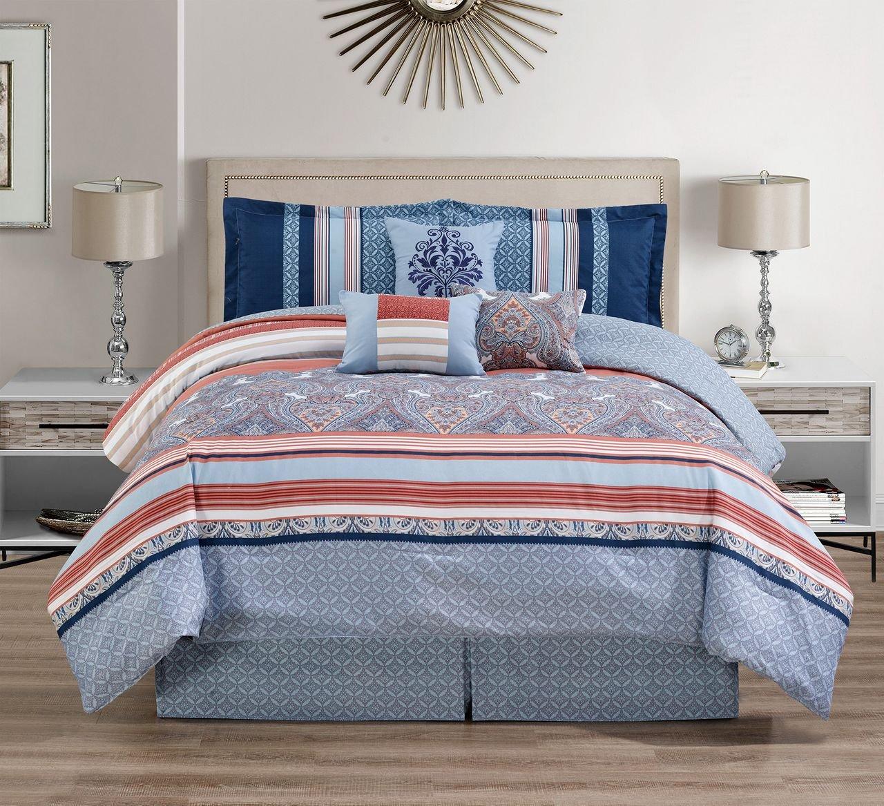 7 Piece Medallion Coral/Blue Comforter Set Queen