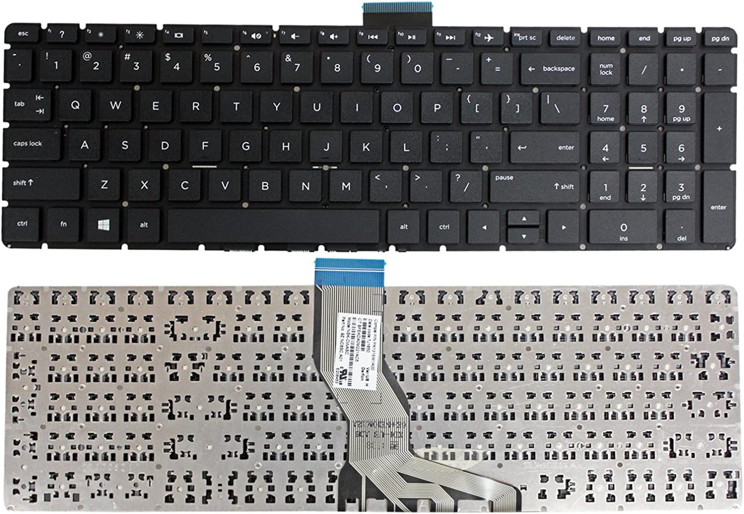 GinTai Laptop US Keyboard Black Replacement for HP 15-bs071nr 15-bs075nr 15-bs077nr 15-bs015dx 15-bs078cl 15-bs078nr 15-bs085nr 15-bs051od 15-bs010nr 15-bs012ca 15-bs000 15-bs100 15-bs500 15-bs600