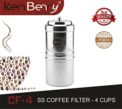 KenBerry CF-4 Coffee Filter 4-Cups (Silver)