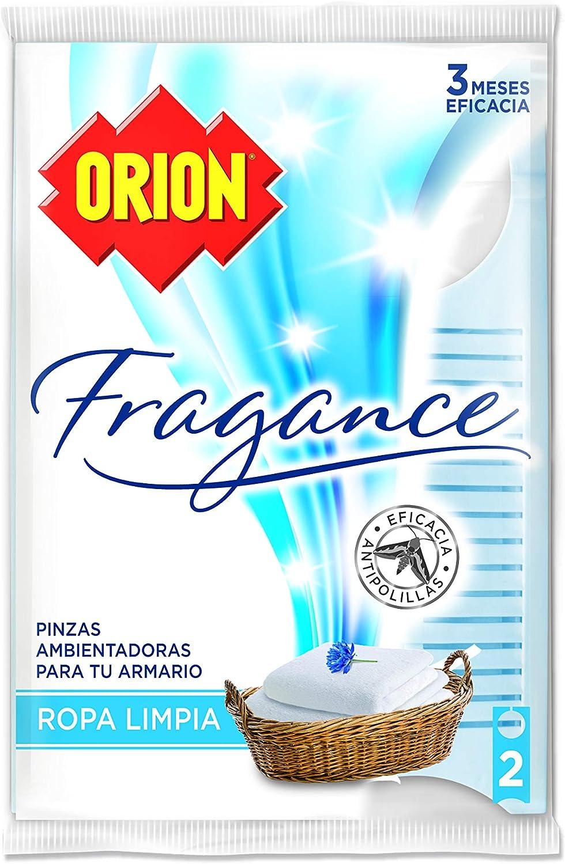 ORION Fragance - Pinzas Ambientadoras Antipolillas para Armarios, Aroma Ropa Limpia - Bolsa de 2 Unidades