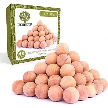 JJecommUS Pelotas de cedro aromático antipolillas, repelente 100% natural para armarios y cajones,