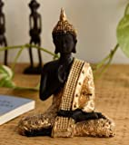 eCraftIndia Handcrafted Meditating Lord Buddha Polyresin Idol (15 cm x 7.5 cm x 20 cm, Golden)