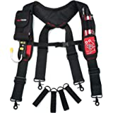 Melo Tough Magnetic Suspenders Tool Belt Suspenders with Large Moveable Phone Holder, Pencil Holder, Adjustable Size Padded S