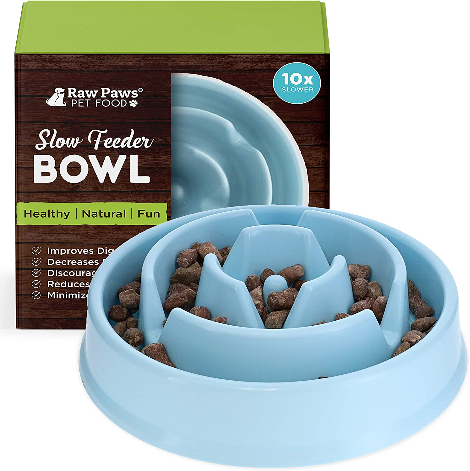 Raw Paws Slow Feeder Dog Bowl & Cat Slow Feeder Bowl - Maze Dog Bowl to Slow Down Eating - Dog Bowl for Fast Eaters - Dog Puzzle Bowl for Slower Eating - Slow Drink Water Bowl for Dogs