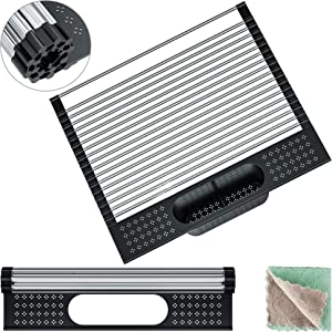 Roll Up Dish Drying Rack, Covoi Kitchen Collapsible Over The Sink Portable Dish Rack, Foldable Stainless Steel Dish Drainer, 17.32'' x 15.16'', Black