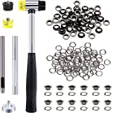 Swpeet 206 Sets 1/4 Inch - 6mm Gun-Black Grommet Eyelets Assortment Kit with Setting Install Tool, Including Rubbe Lightweigh