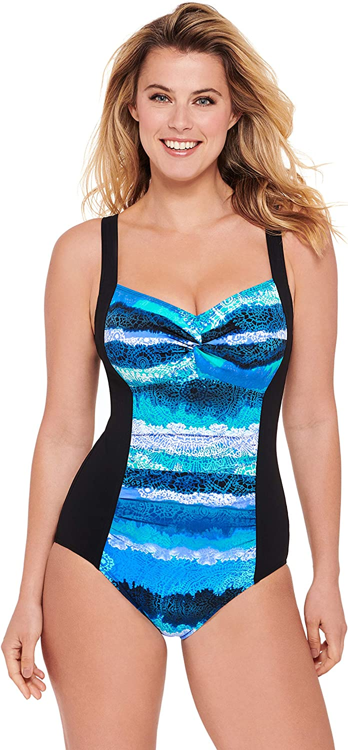 Christina Womens Cami D-Cup Twist Front Tankini Swimsuit