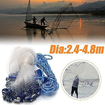 US 8ft//12ft//16ft Hand Cast Fishing Mesh Mono Saltwater Bait Drawstring Catch Net