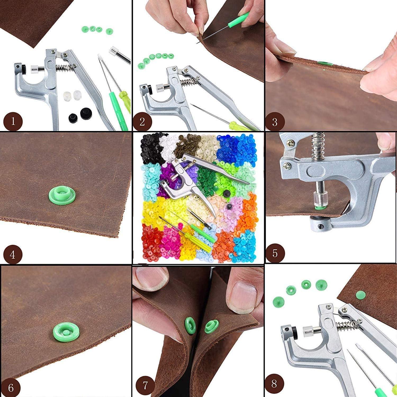 Accesorios en Organizador para Manualidades 360 Juegos de Botones Alicates con 360 Botones de presi/ón T5 en 24 Colores LEANKING sin Costuras Botones de presi/ón T5 con Pinzas y bot/ón de presi/ón