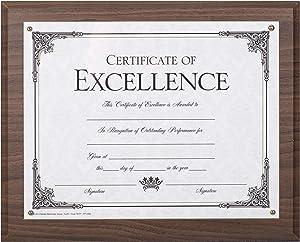 Dax 8.5 x 11 Walnut Certificate Award Plaque Board Slide In with Plexi Glass