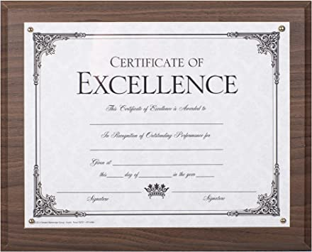 """Wood Award Certificate Plaque with Slide-In for 11/"""" x  8.5/"""" Standard Certificate"""