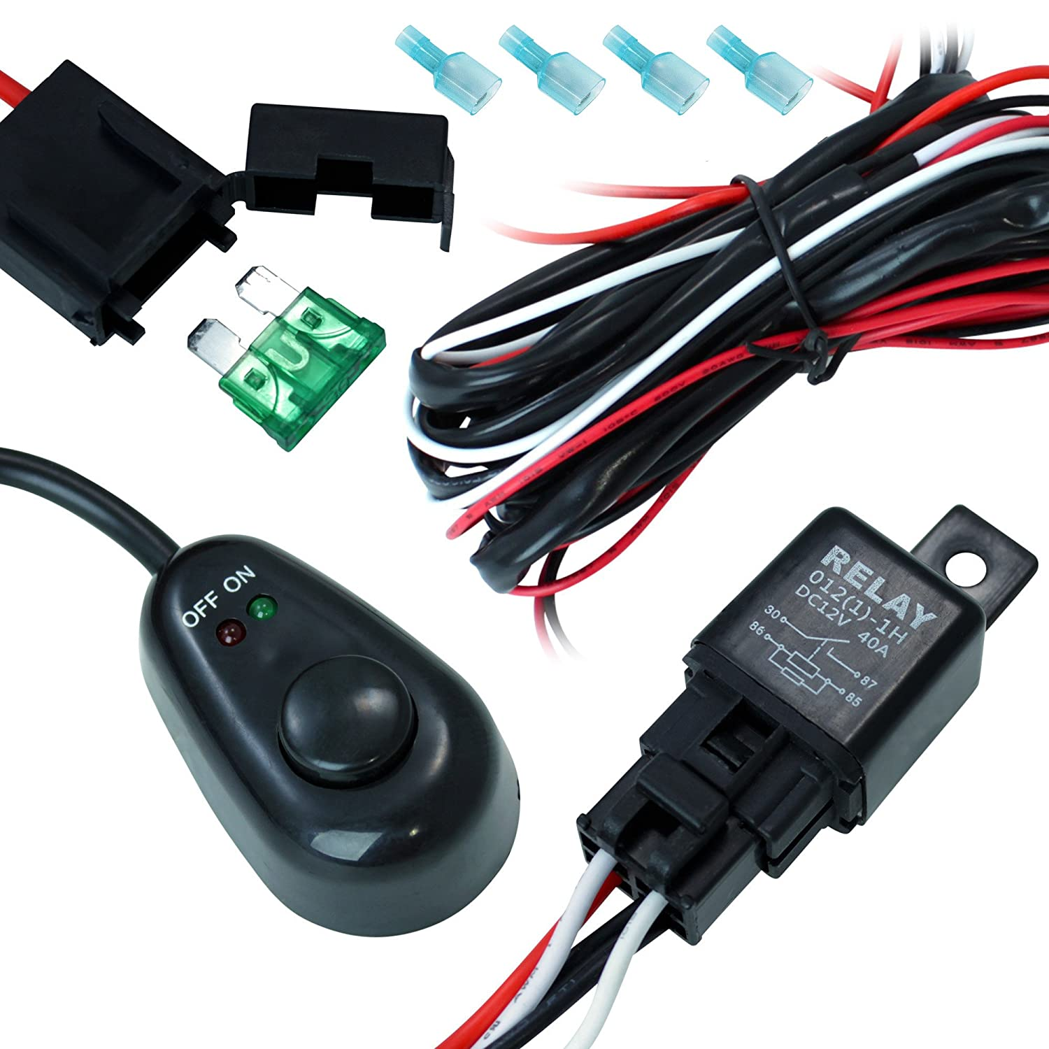 Amazon.com: DT MOTO trade; Off Road ATV/Jeep LED Light Bar Wiring Harness -  40 Amp Relay ON/OFF Switch: Automotive