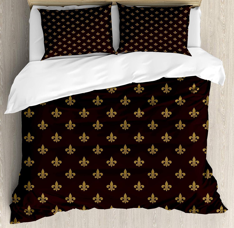 Ambesonne Fleur De Lis Duvet Cover Set, French Pattern European Culture Theme Abstract Vintage Renaissance, Decorative 3 Piece Bedding Set with 2 Pillow Shams, King Size, Yellow Burgundy