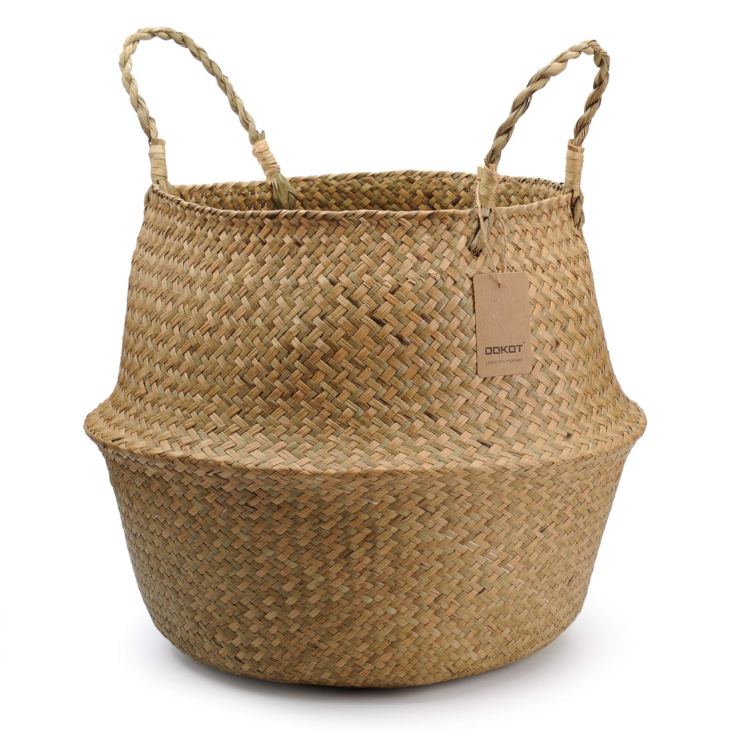 Natural Seagrass Belly Basket with Handles, Toy Storage and Baby Laundry Basket DOKOT