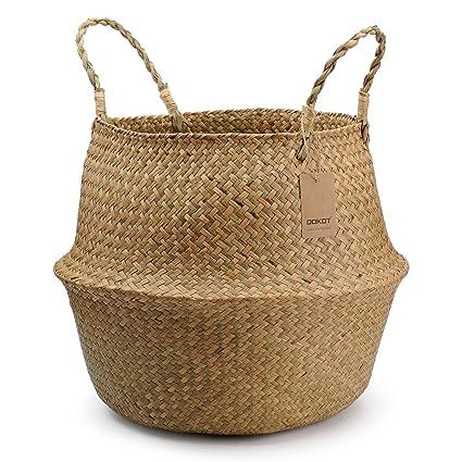 6289f5cadc Cestino di vimini di Seagrass con manici, cesto portabiancheria di grandi  dimensioni