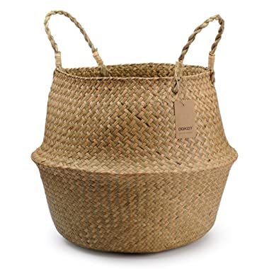 Natural Seagrass Belly Basket with Handles, Round Storage Wicker Basket Planter (14  Diameter x 12.5  Height, Natural)