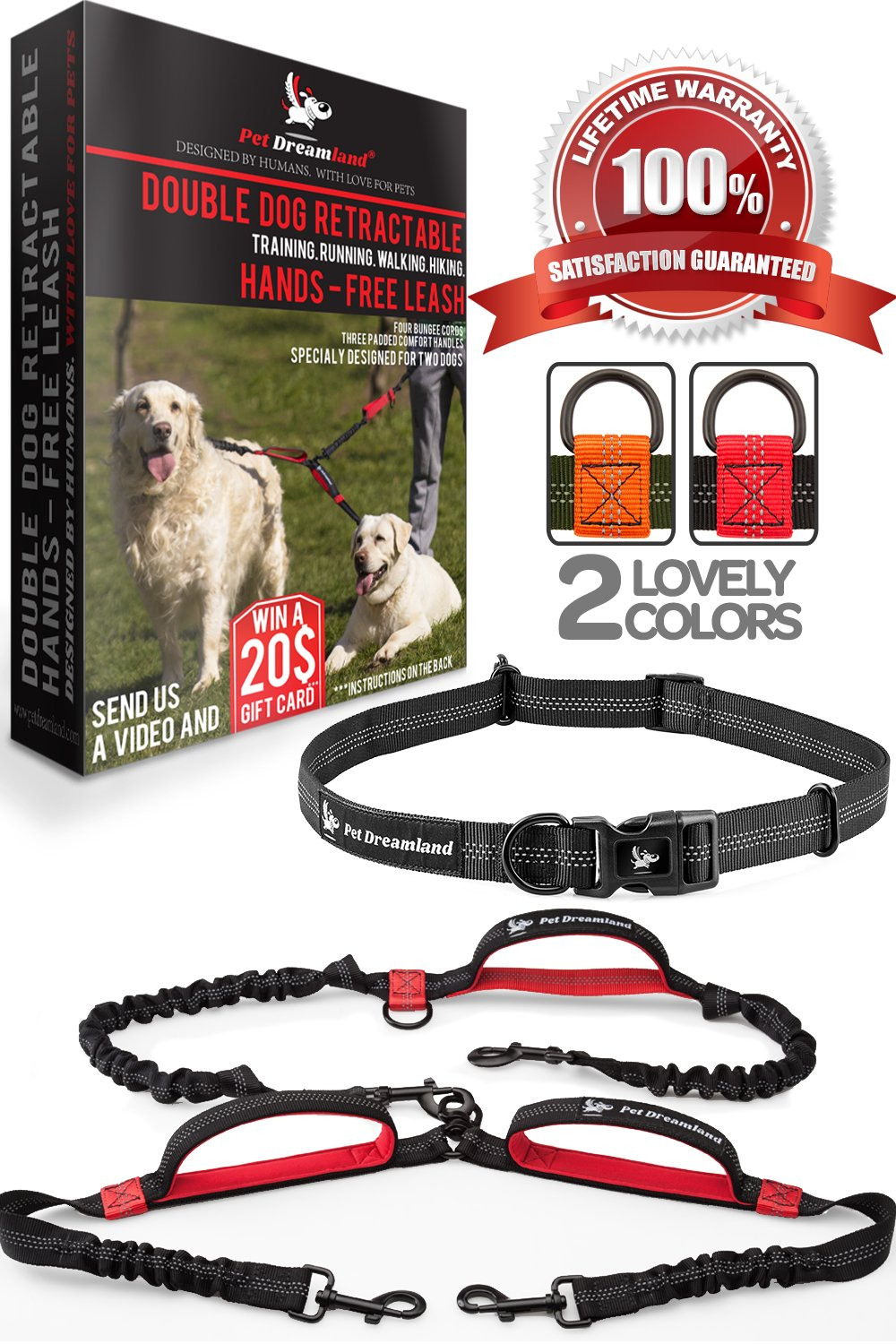 Hands Free Dog Leash for Running - Heavy Duty Extra Long Bungee Lead - Medium to Large Dogs (up to 150 lbs) - Waist Belt Leashes for Walking, Jogging, Hiking, Training (Two Dogs, Black & Red)