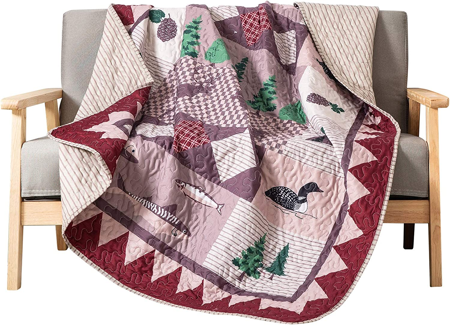 """SLPR Wild Wonders Cabin Lodge Printed Quilted Throw Blanket (50"""" x 60"""") 