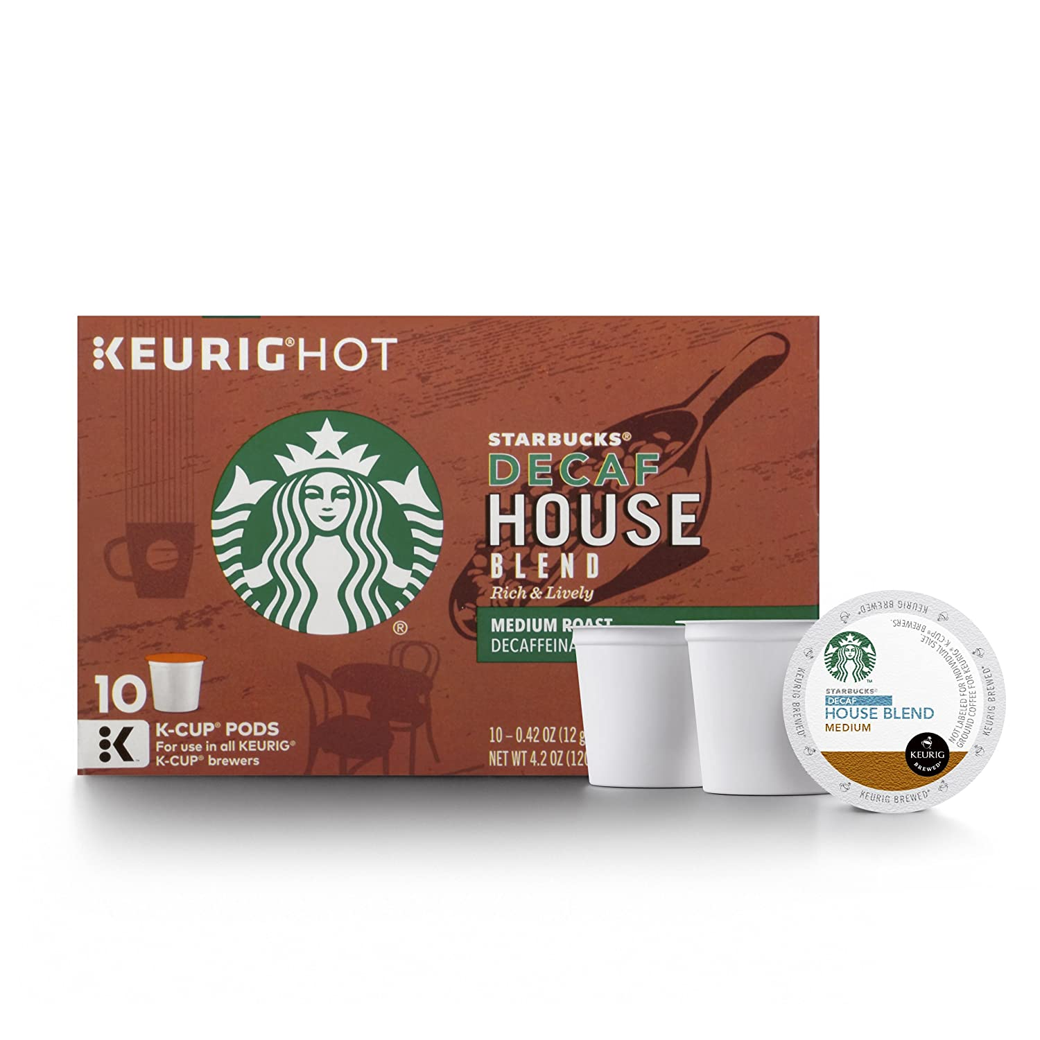 Starbucks House Blend Keurig Pods, Decaf, Medium Roast Coffee, Single Serve K-Cups, 10 Count, Pack of 6