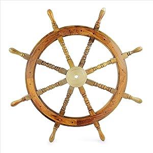 Nagina International Nautical Wooden Ship Wheel with Navigational Brass Cap | Captain's Pirate Home Decor (36 Inches)