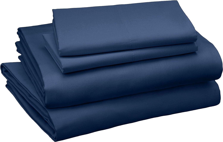 AmazonBasics Cotton and Rayon Derived from Bamboo Sheet Set - King, Dark Blue