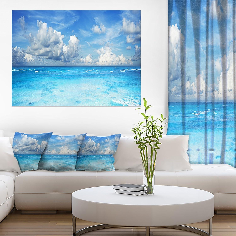 Designart PT11536-373 Bright Waters and Sky Panorama-Modern Seascape Canvas Artwork-60x32 5 Piece Blue 60x32-5 Panels Diamond Shape