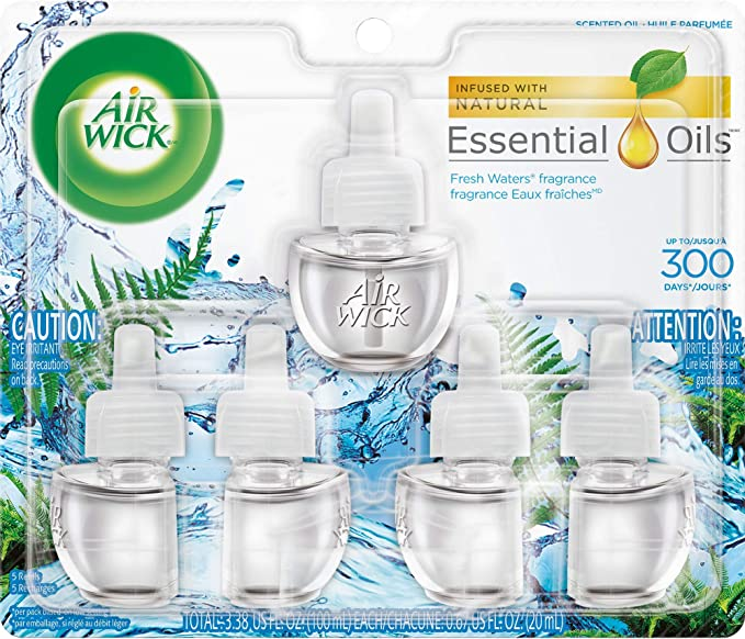 Air Wick plug in Scented Oil 5 Refills, Fresh Waters, (5x0.67oz), Essential Oils, Air Freshener