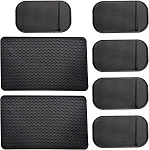 7 Pack Car Dashboard Anti-Slip Mat, 2 Sizes Heat Resistant Sticky Non-Slip Ripple Gel Latex Dash Grip Pad for Cell Phone Sunglasses Keys Coins by ACKLLR,Black
