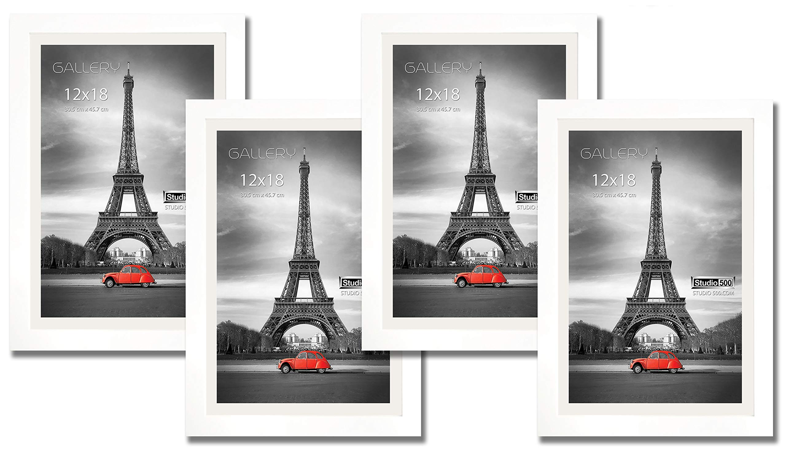 Hall of Frame 4 Value Pack of 12 by 18-inch Real Solid Pine Wood Photo Frames, Tempered Glass, with Acid-Free Off-White Core Mat Board for 11x17 Photos, Comes in 2 Colors: (White)