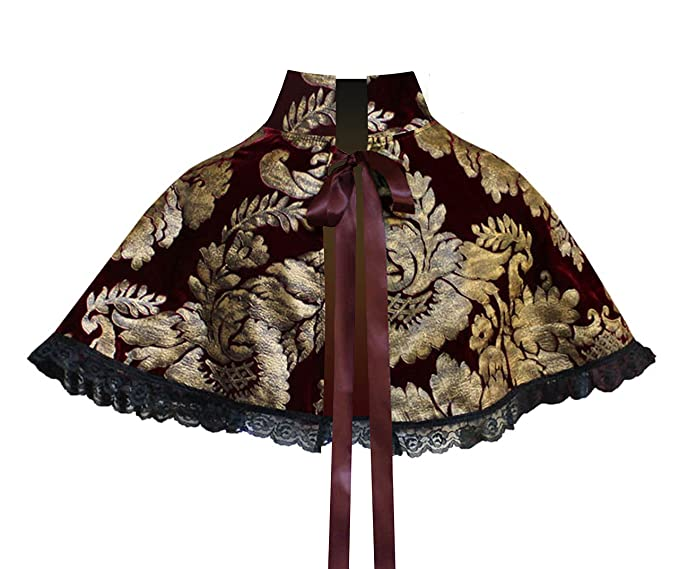 Steampunk Vests and Wraps Victorian Gothic Mori Girl Steampunk Velvet Capelet Collar Burgundy Gold $44.00 AT vintagedancer.com