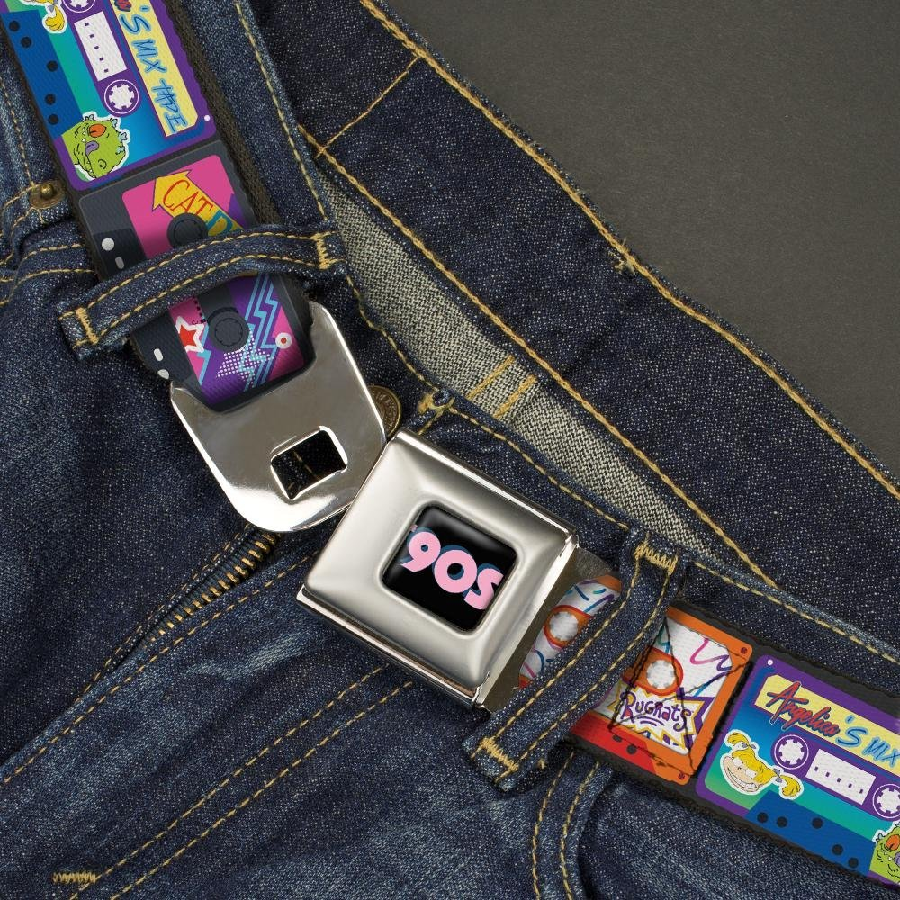 Nickel Sample Rewind mash up Cassette Tapes Black Nickelodeon Mens Buckle-Down Seatbelt Belt Nick 90s Kids 1.0 Wide-20-36 Inches