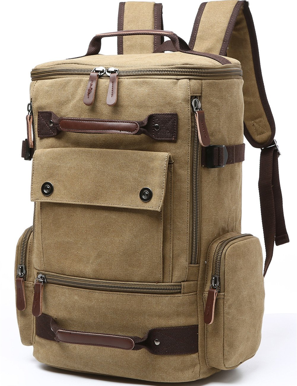 Canvas Backpack, Aidonger Vintage Canvas School Backpack Hiking Travel Rucksack Fits 15'' Laptop (Khaki)